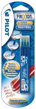 Pilot recharge pour Frixion Ball et Frixion Ball Clicker, pointe moyenne, blister de 3 pièces, bleu