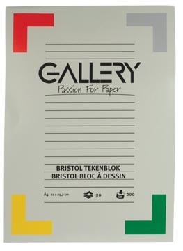 Gallery bloc de dessin 200 g/m², Bristol, 20 feuilles, ft 21 x 29,7 cm (A4)