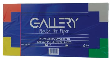 Gallery enveloppes, ft 114 x 229 mm, sans fenêtre, avec bande adhésive, paquet de 50 pièces