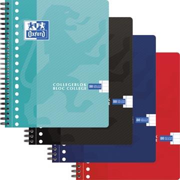 Oxford School bloc collège, ft A5+, 160 pages, 17 trous, marge, ligné, couleurs assorties