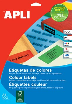 Apli Etiquettes colorées ft 210 x 297 mm (l x h), jaune, 100 pièces, 1 par feuille