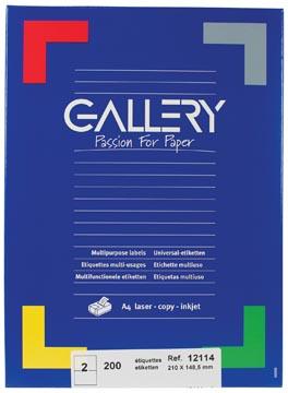 Gallery étiquettes blanches, ft 210 x 148,5 mm (l x h), coins carrés, 2 par feuille