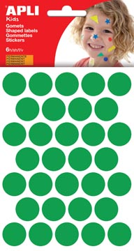 Apli Kids gommettes, cercle diamètre 20 mm, pochette de 180 pièces, vert