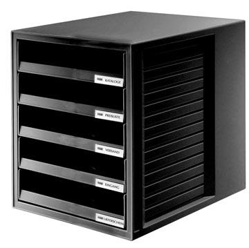 Han bloc à tiroirs avec tiroirs ouverts, noir