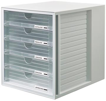 Han bloc à tiroirs Systembox avec 5 tiroirs fermés, transparent