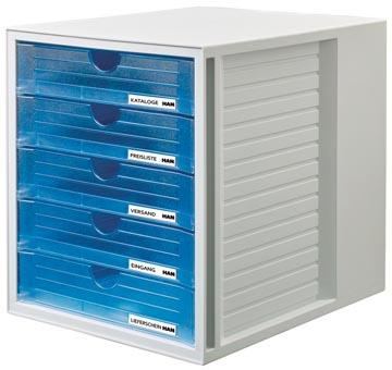 Han bloc à tiroirs Systembox avec 5 tiroirs fermés, transparent bleu