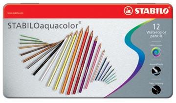 STABILOaquacolor crayon de couleur, boîte métallique de 12 pièces en couleurs assorties