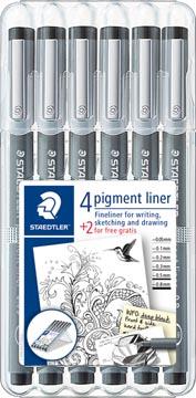 Staedtler fineliner Pigment Liner, étui de 4 + 2