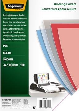 Fellowes couvertures ft A4, 150 microns, paquet de 100 pièces