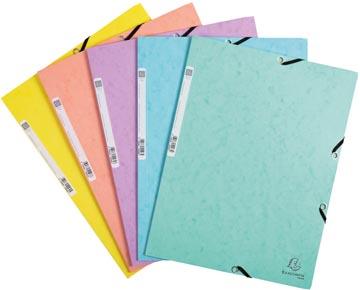 Exacompta Aquarel chemise à elastique en carte lustrée, ft A4, 3 rabats et elastique, couleurs assorties