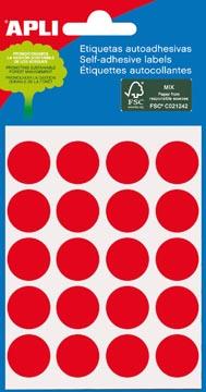 Apli étiquettes rondes en pochette diamètre 19 mm, rouge, 100 pièces, 20 par feuille (2065)