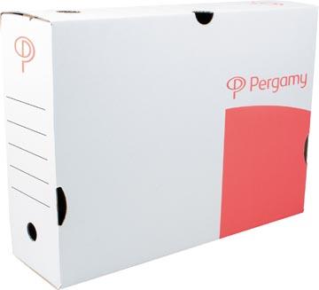Pergamy boîte à archives, 10 x 25 x 33 cm (l x h x p), blanc, montage manuel