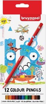 Bruynzeel Kids crayons de couleur, set de 12 stuks en couleurs assorties