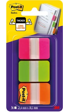 Post-it Index Strong, ft 25,4 x 38 mm, set de 3 couleurs (rose, vert en orange), 12 tabs par couleur