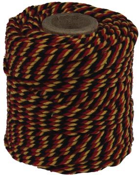 Ficelle de coton, noir-jaune-rouge, bobine de 50 g, environs 35 m