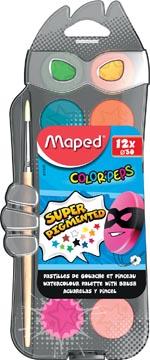 Maped Color'Peps boîte de peinture à l'eau, boîte avec 12 godets en couleurs assorties