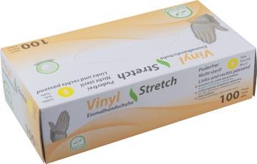 Gants en vinyle, small, blanc/transparent, boîte de 100 pièces