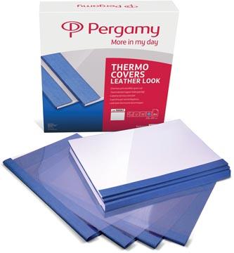 Pergamy couvertures thermiques ft A4, 6 mm, paquet de 100 pièces, bleu, grain cuir