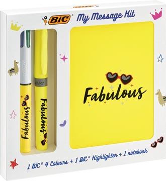 Bic Message Kit Fabulous, stylo bille 4 colours, surligneur highlighter et carnet de notes ft A6