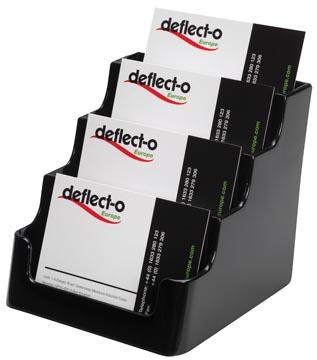 Deflecto Porte-cartes de visite 4 compartiments, noir