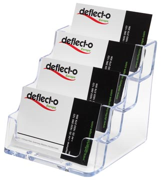 Deflecto Porte-cartes de visite 4 compartiments, transparent