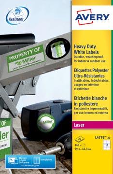 Avery L4776-20 étiquettes ultra résistantes ft 99,1 x 42,3 mm (b x h), 240 étiquettes, blanc