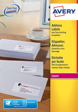 Avery L7159, Etiquettes adresses, Laser, Ultragrip, blanches, 40 pages, 24 per page, 63,5 x 33,9 mm