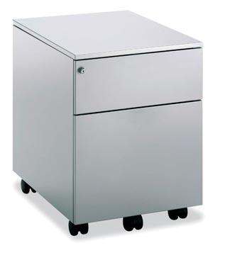 Mobo bloc à tiroirs Universal, 1 tiroir + tiroir pour dossiers, sur roulettes, aluminium
