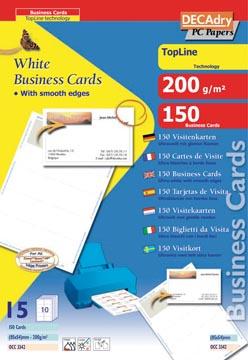 Decadry cartes de visite TopLine, 150 cartes, 10 cartes ft 85 x 54 mm par A4, coins droits