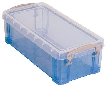 Really Useful Box 0,9 litres, bleu transparent