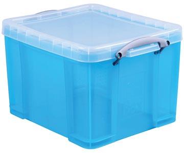 Really Useful Box boîte de rangemen 35 litres, bleu vif transparent