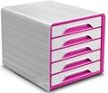 Smoove by CEP bloc à tiroirs avec 5 tiroirs, cadre blanc avec tiroirs roses